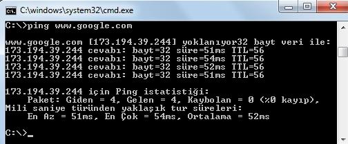Ping atarak sunucuya ulaşma hızınızı gözlemleyebilirsiniz.